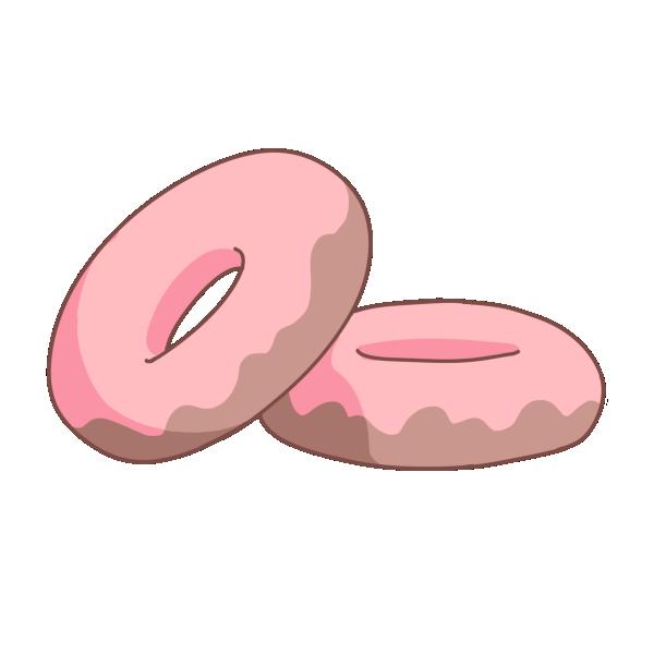 苺ドーナッツのイラスト