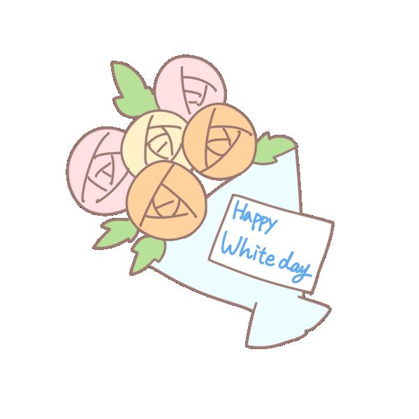 メッセージのついた花束のイラスト