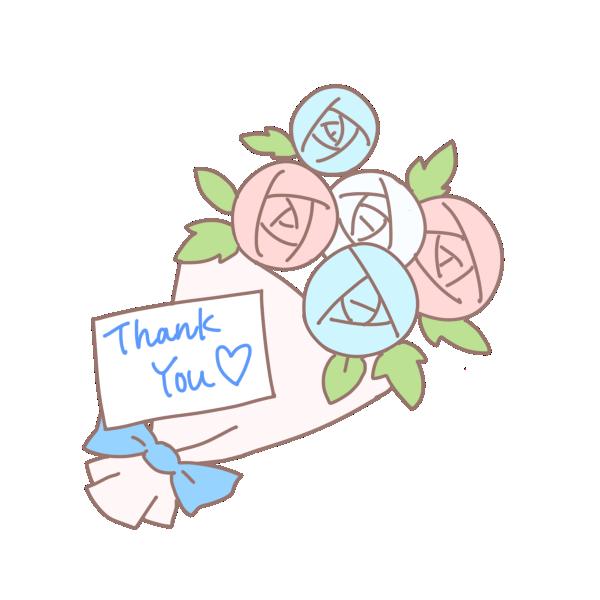 メッセージのついた花束2のイラスト