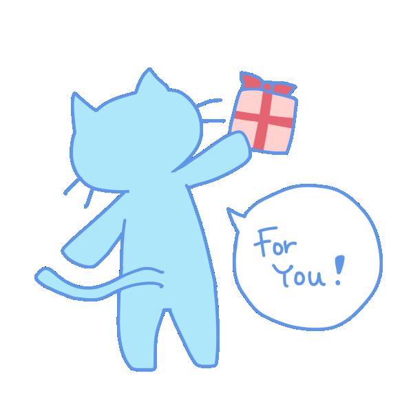 猫からのプレゼントのイラスト