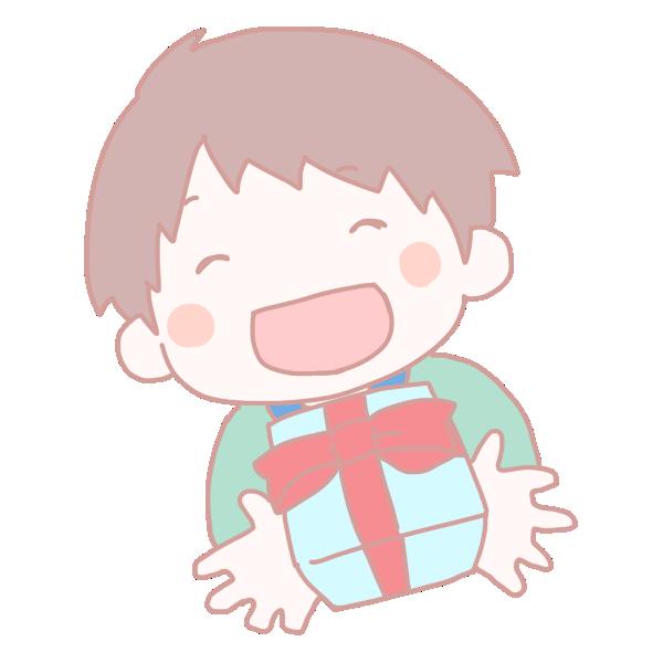 男の子からのプレゼントのイラスト