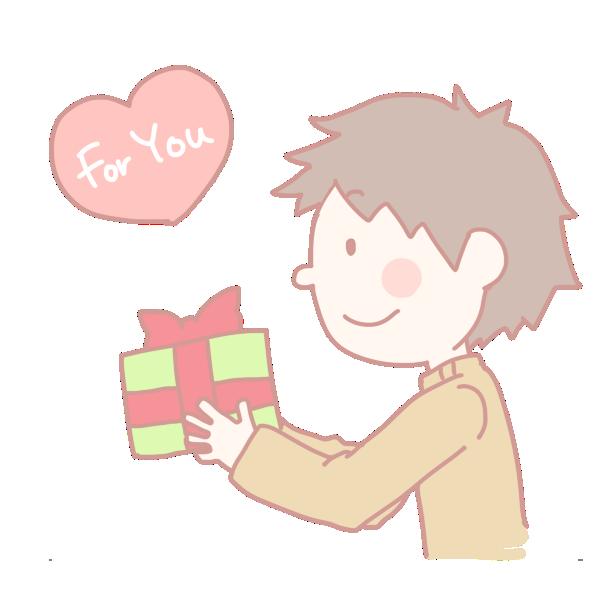 プレゼントを渡す男の子のイラスト