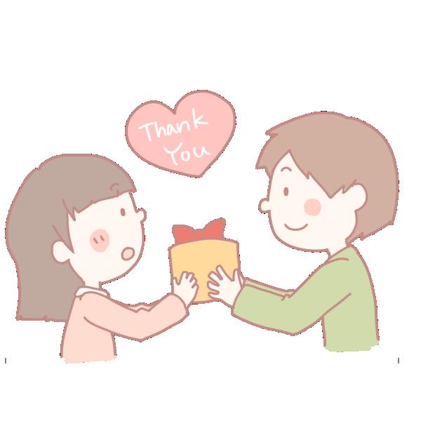 女の子にプレゼントを渡す男の子のイラスト