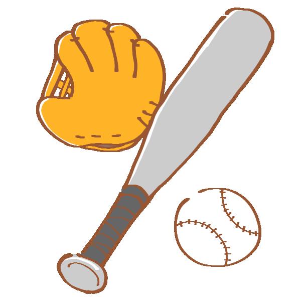 野球のグローブとバットとボールのイラスト
