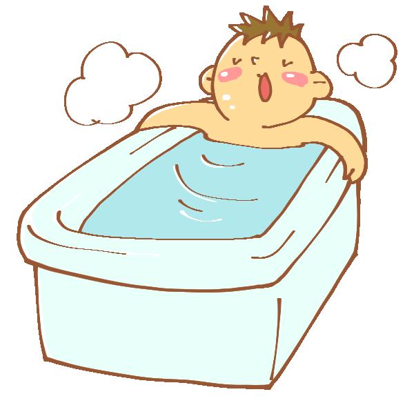 お風呂に入る男性のイラスト