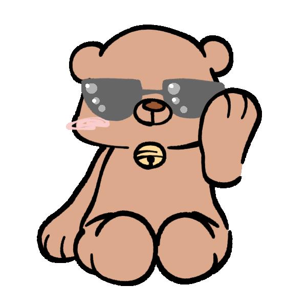 サングラスをした熊のイラスト
