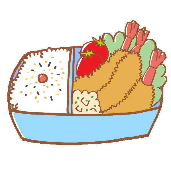 エビフライのお弁当のイラスト
