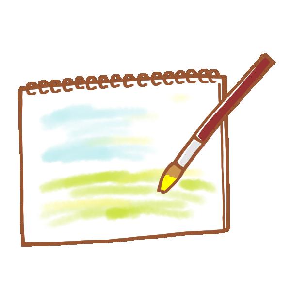 スケッチブックに描く水彩画のイラスト