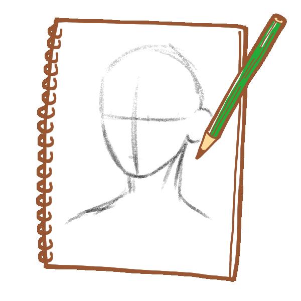 スケッチブックに描く鉛筆画のイラスト