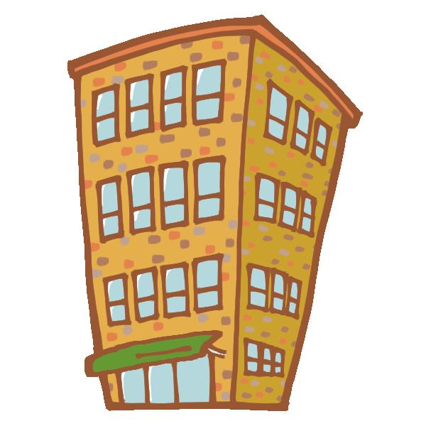 レンガのビルのイラスト