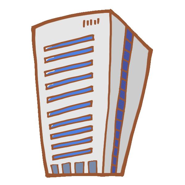 シンプルなグレーのビルのイラスト