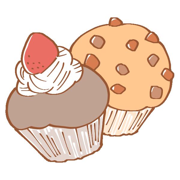 いちごとチョコのカップケーキのイラスト