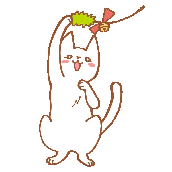 ねこじゃらしにじゃれる猫のイラスト