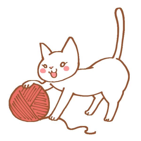 毛糸玉にじゃれる猫のイラスト