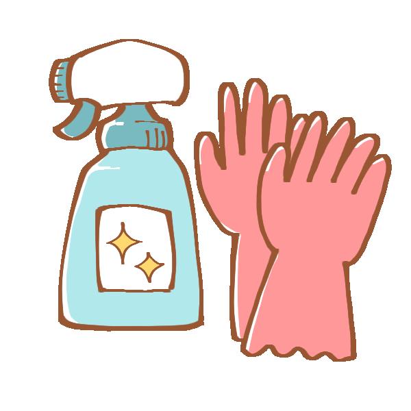 ゴム手袋と住居用洗剤のイラスト