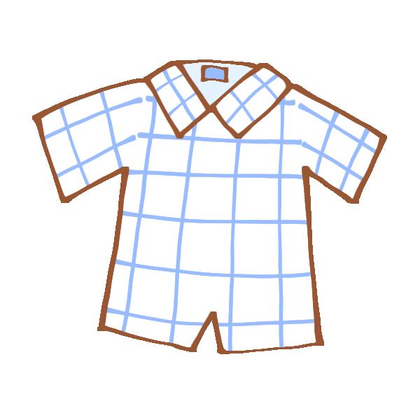ウィンドウペンチェックの半袖シャツのイラスト