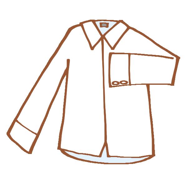 真っ白な長袖シャツのイラスト