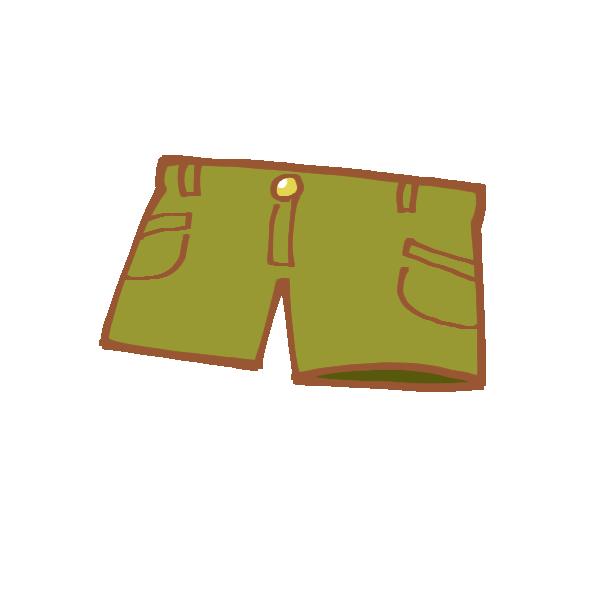 カーキ色のショートパンツのイラスト