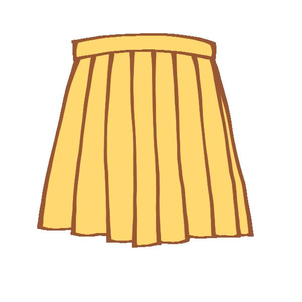 黄色のプリーツスカートのイラスト