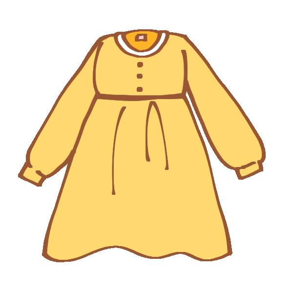 黄色の長袖ワンピースのイラスト