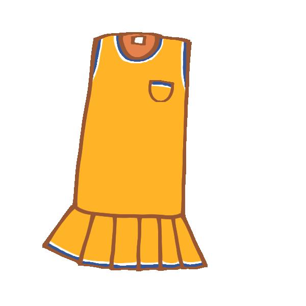 オレンジ色のノースリーブワンピースのイラスト