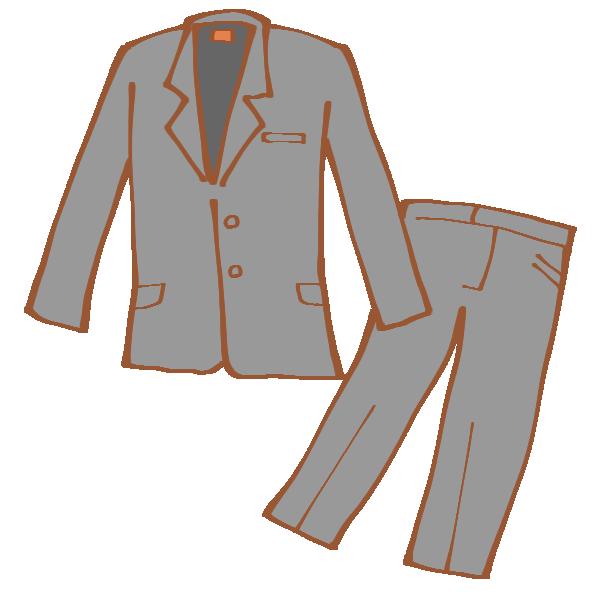 グレーのパンツスーツのイラスト