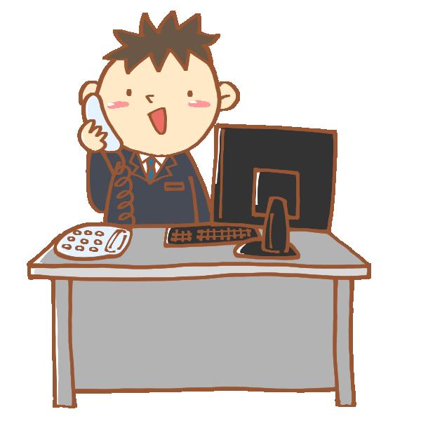 デスクで仕事をする男性のイラスト
