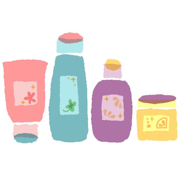 洗顔料と化粧水と乳液とクリームのイラスト