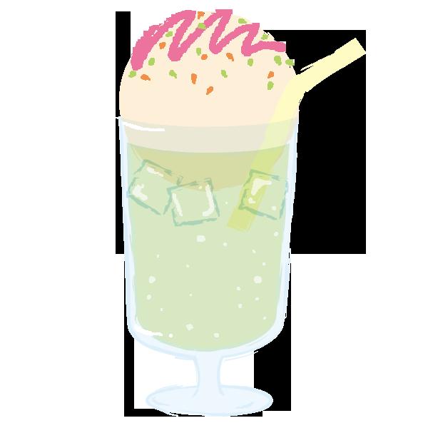 ベリーソースのかかったクリームソーダのイラスト