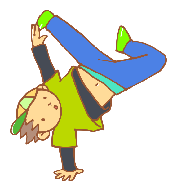 ブレイクダンスをする男性のイラスト