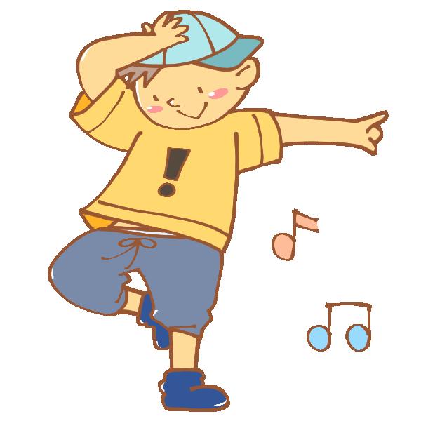 ヒップホップを踊る男性のイラスト