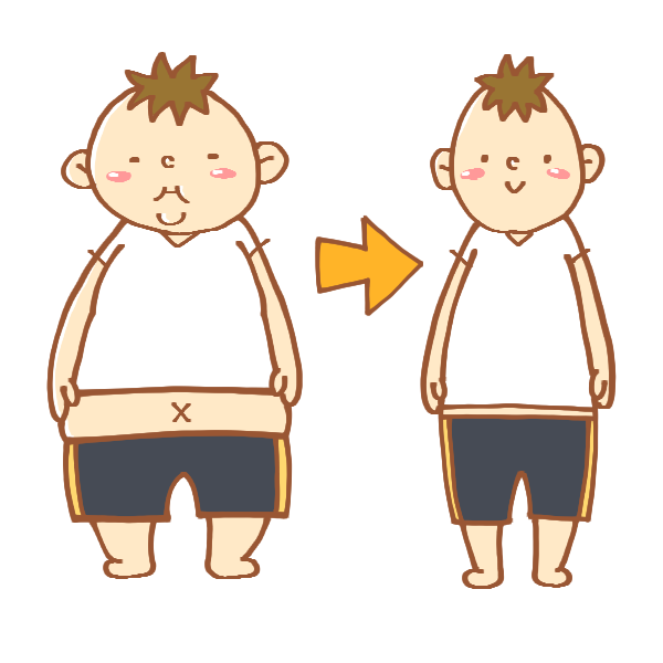 ダイエット前後の男性のイラスト