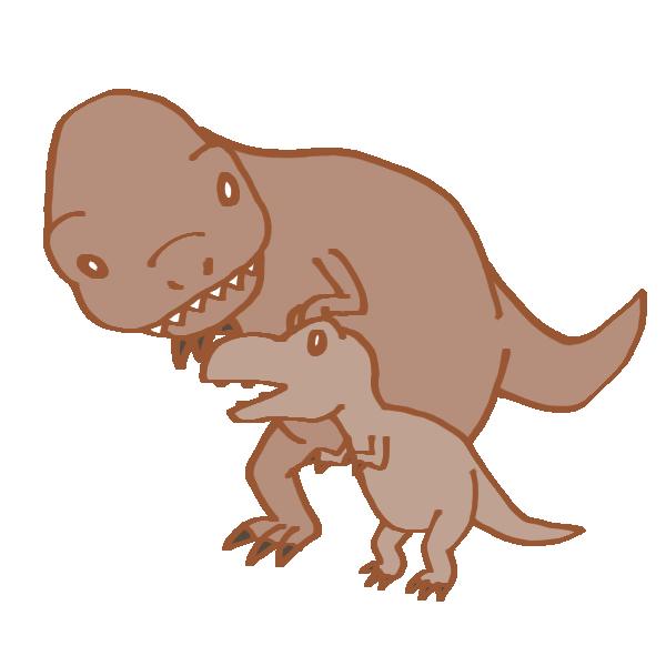 恐竜の親子のイラスト