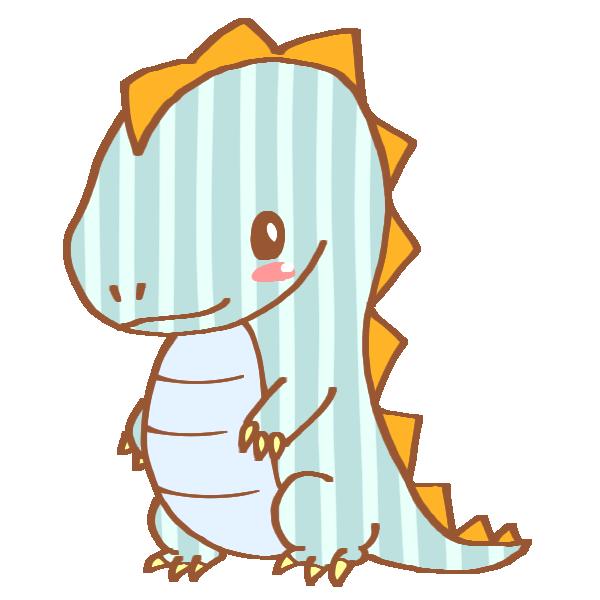 ストライプ模様の恐竜のイラスト