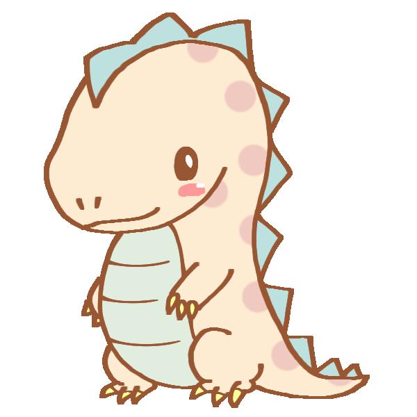 ドット模様の恐竜のイラスト