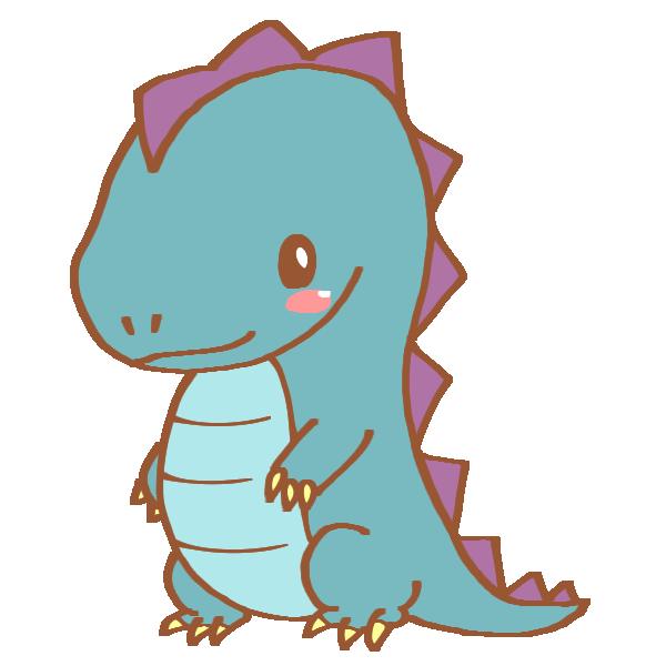 青い恐竜のイラスト