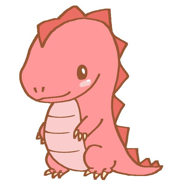 ピンク色の恐竜のイラスト