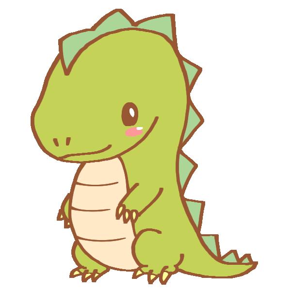 黄緑色の恐竜のイラスト