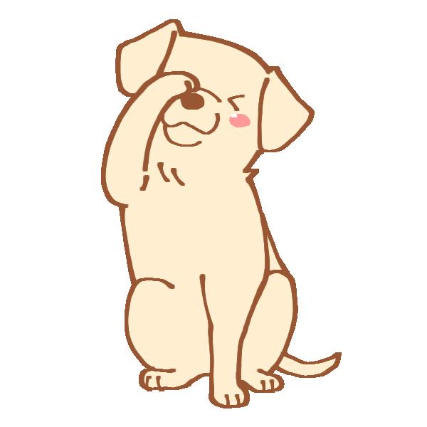 フェイスをする犬のイラスト