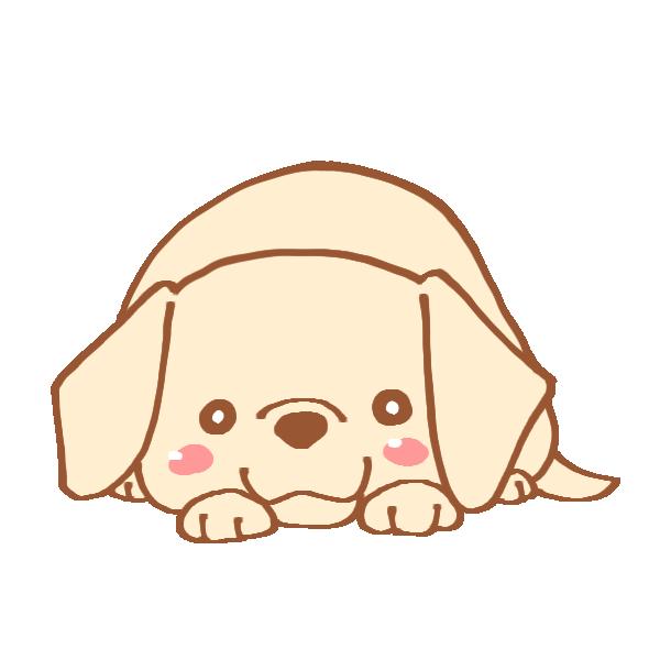 ふせをする犬のイラスト