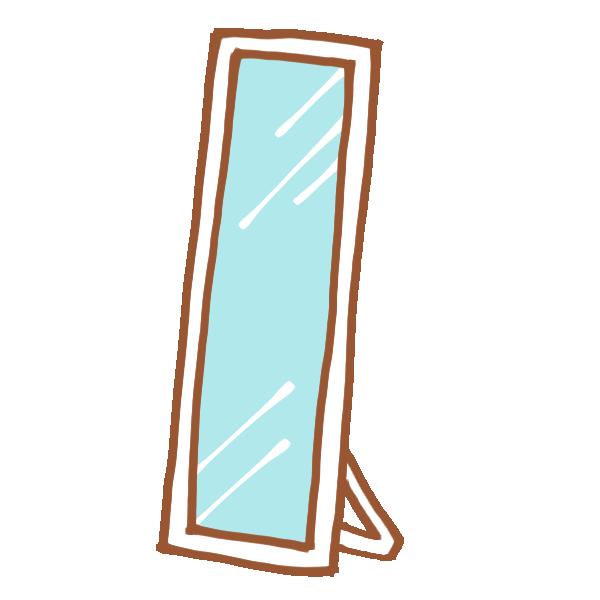 白い姿見鏡のイラスト