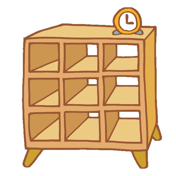 木製のオープンラックのイラスト