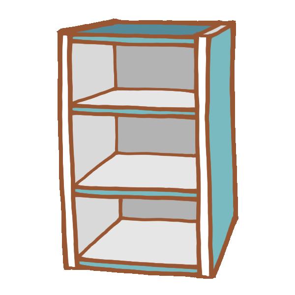 青色のカラーボックスのイラスト