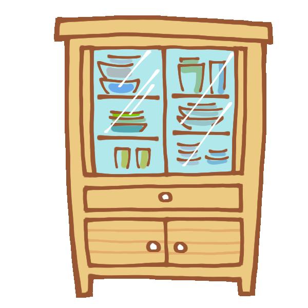 木製の食器棚のイラスト