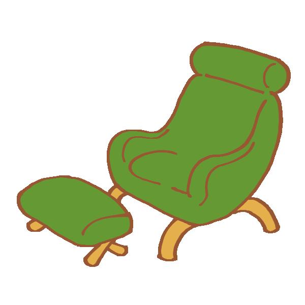 緑色のフットレスト付きチェアのイラスト
