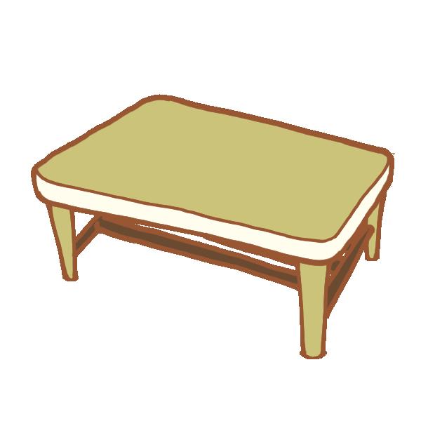 シックなカラーリングのテーブルのイラスト