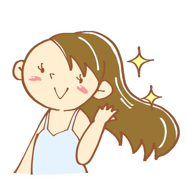 サラサラの髪をなびかせる女性のイラスト