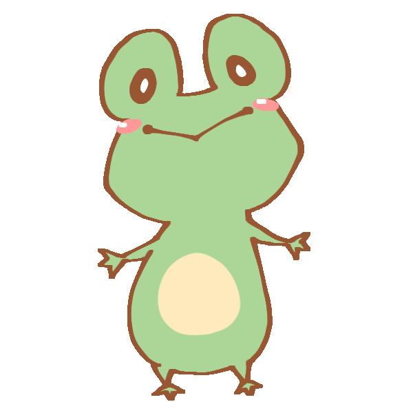 緑色のキュートなかえるのイラスト