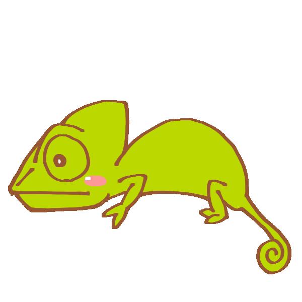 緑色のカメレオンのイラスト