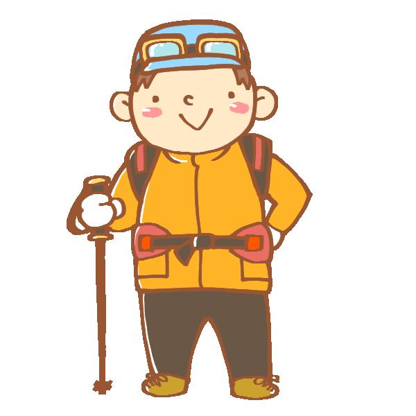 登山の格好をした男性のイラスト